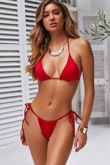Red Triangle Bikini Top