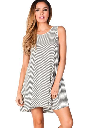 """Natalie"" White and Black Striped Strappy Back Tank Jersey Trapeze Dress"