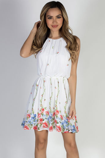 """Head in the Clouds"" Ivory Floral Short Chiffon Dress"
