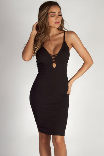 """Send The Location"" Black Crepe Criss Cross Front Detail Dress"