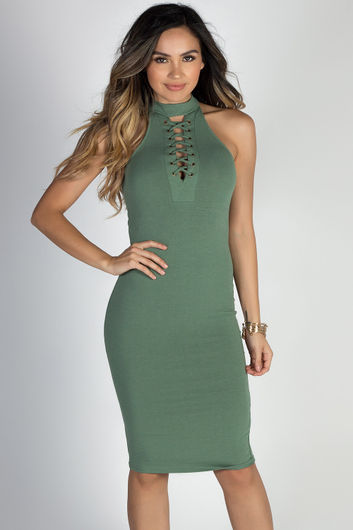 """Wild Thoughts"" Sage High Neck Halter Lace Up Bodycon Dress"