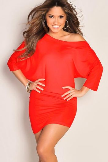 """""""Courtney"""" Red Sexy Off the Shoulder T-Shirt Dress"""