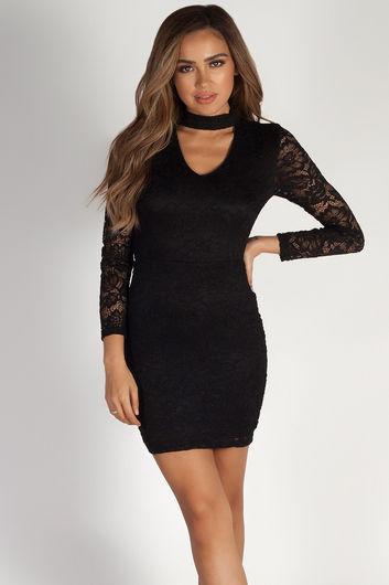 """""""Lucid Dreams"""" Black Cut Out Collar Lace Dress"""