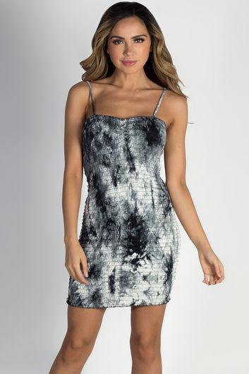 """Nirvana"" Black & White Tie Dye Smocked Mini Dress"