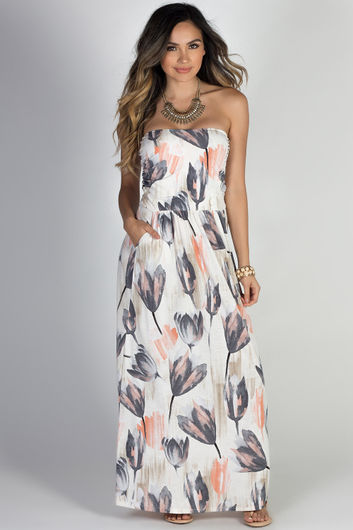 """""""Happiness"""" Pastel Floral Print Strapless Maxi Dress with Pockets"""