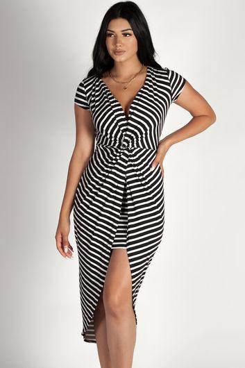 """All Mine"" Black and White Striped Deep V-Neck Dress"