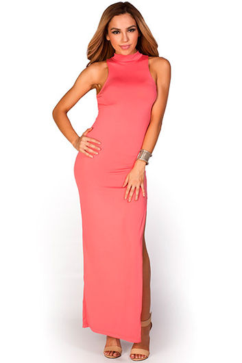 """Britta"" Coral MockneckThigh High Slit Bodycon Jersey Maxi Dress"