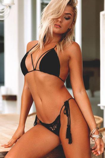 Beach Rose Black Bikini Top