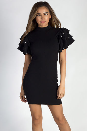 """Midnight in Paris"" Black Pearl Beaded Ruffled Sleeve Dress"