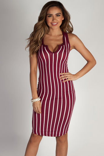 """One Kiss"" Burgundy Striped Racer Back Dress"
