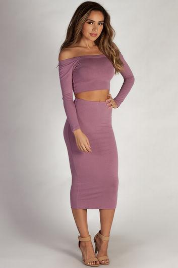 """Bubble Up"" Lavender Off Shoulder Crop Top and Midi Skirt Set"