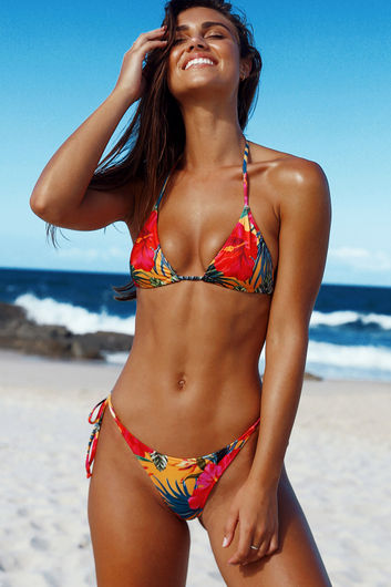 Sunset Tropical Print Triangle Top