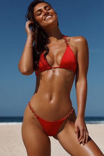 Red Triangle Bikini On a Chain Top