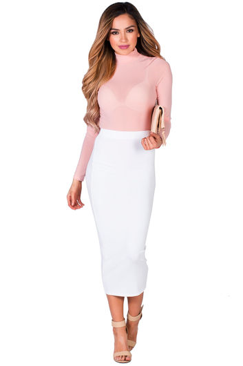 """Holly"" White Soft Knit High Waisted Midi Pencil Skirt"