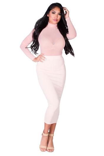 """Holly"" Blush Pink Knit High Waisted Midi Pencil Skirt"