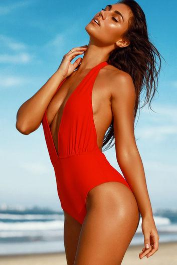 Liz Red Deep V Halter One Piece Swimsuit