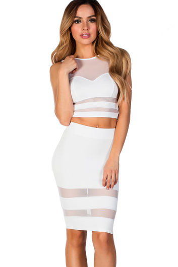 """Zara"" White Sheer Mesh Two Piece Dress"