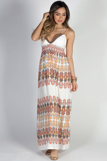 """Sundance"" Ivory Multicolor Boho Tribal Print Double Strap Maxi Dress"