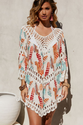 Lucky Feather Poncho Beach Cover Up