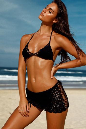 Tequila Sunset Black Mini Crochet Beach Skirt Cover Up