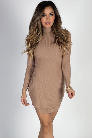 """""""Coffee Date"""" Mocha Long Sleeve Turtleneck Bodycon Sweater Dress"""