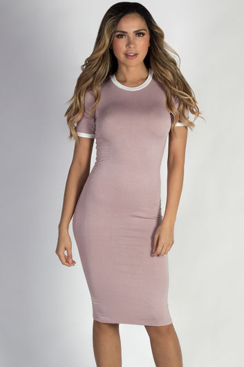 """""""Elodie"""" Mauve Bodycon Ringer Midi Dress with Sleeves"""