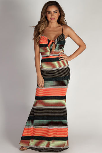 """Main Squeeze"" Multi-Color Striped Spaghetti Strap Maxi Dress"