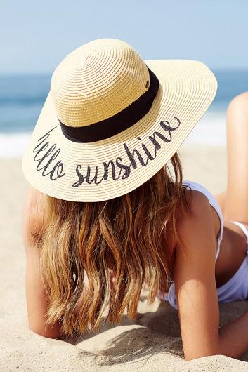 Hello Sunshine Tan Beach Hat