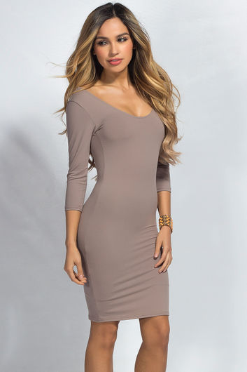 """""""Dylan"""" Taupe 3/4 Sleeve Cute and Casual Bodycon Dress"""