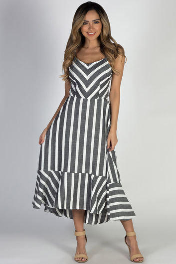 """First Time"" Grey Striped Flare Maxi Dress"