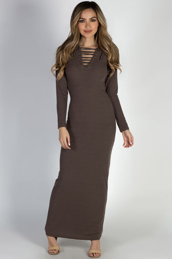 """""""I Got You"""" Cocoa Long Sleeve Lace Up Bodycon Maxi Dress"""