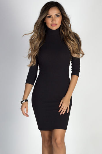 """Simple Pleasures"" Black 3/4 Sleeve Jersey Bodycon Classic Turtleneck Midi Dress"