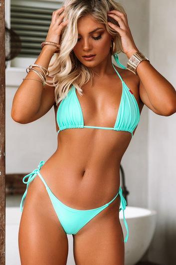 Mint Triangle Bikini Top