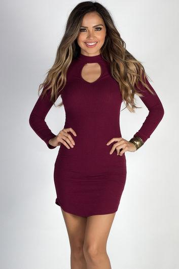 """My Affection"" Burgundy Ribbed Long Sleeve Choker Dress"