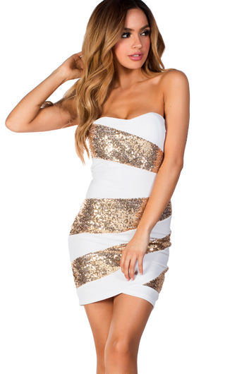 """""""Alexis"""" White and Gold Sequin Strapless Cocktail Party Dress"""