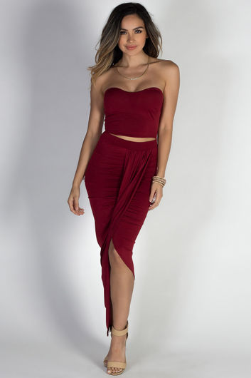 """""""Isana"""" Deep Red Strapless Cut Out Draped Maxi Gown"""