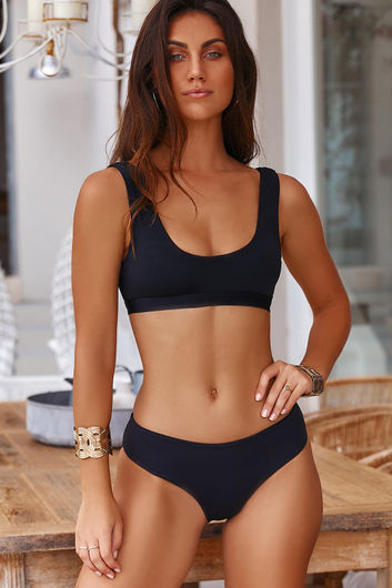 Ambrosia Black Sexy High Cut Bikini Bottoms