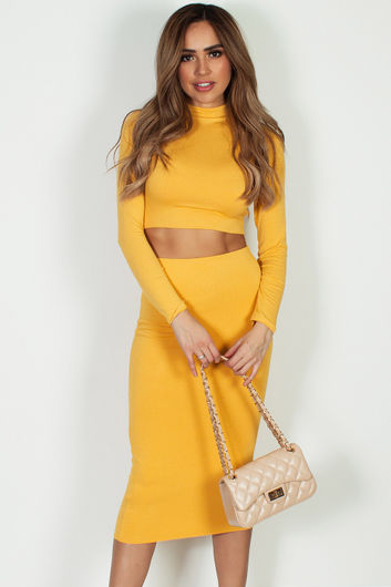 """""""No Days Off"""" Mustard Yellow Long Sleeve Crop Top And Midi Skirt"""