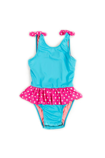 Bella Aqua & Pink Polka Dot Baby/Toddler One Piece Swimsuit