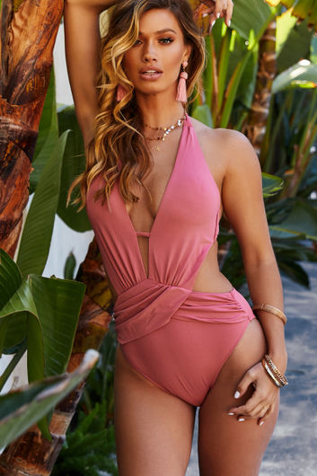 Anemone Pink Deep V Cutout One Piece Swimsuit