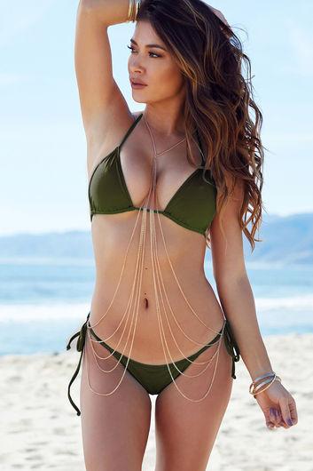Olive Triangle Bikini Top