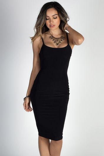 """Anna Marie"" Black Simple Bodycon Midi Slip Dress"