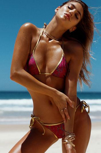 Laguna Magenta Snake Print & Gold Classic Bikini Top