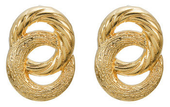 Gold Interlocked Circular Earrings