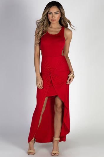 """Bad at Love"" Red Sleeveless Side Cutout Maxi Dress"