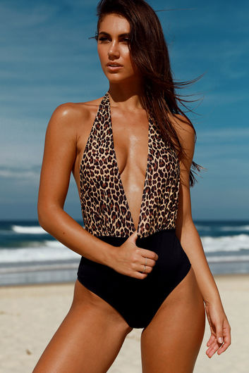 Liz Leopard & Black Deep V Halter One Piece Swimsuit
