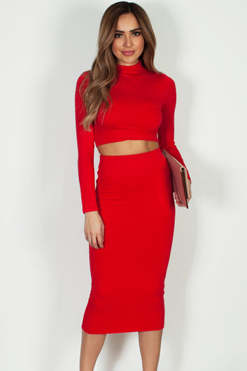 """""""No Days Off"""" Red Long Sleeve Crop Top And Midi Skirt"""