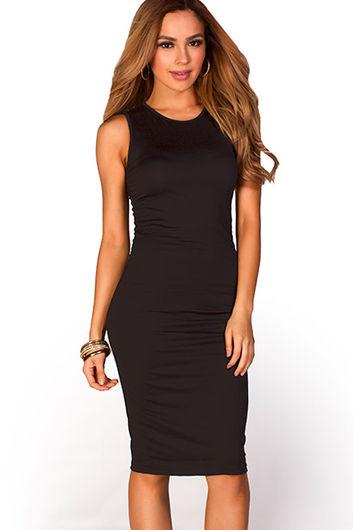 """Kiara"" Black Sleeveless Casual Bodycon Midi Dress"