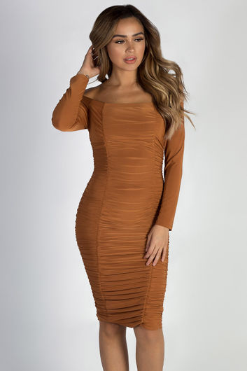 """More Than You Know"" Terracotta Off Shoulder Ruched Long Sleeve Dress"