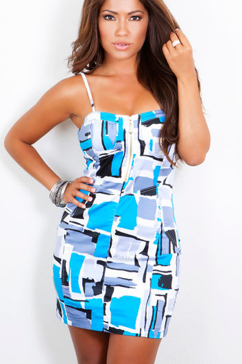 Blue Abstract Watercolor Printed Bustier Mini Dress